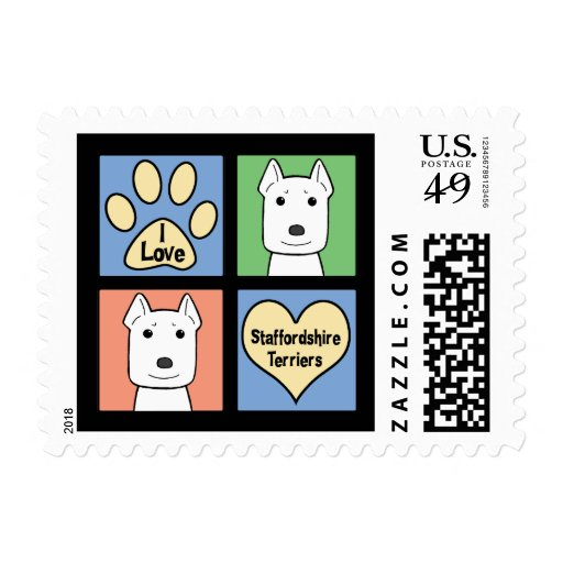 I Love Staffordshire Terriers Stamps