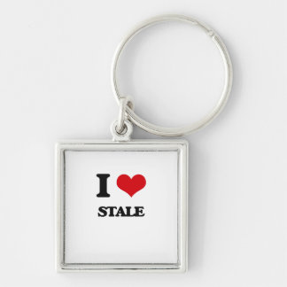 I love Stale Silver-Colored Square Keychain