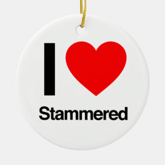 i love stammered Double-Sided ceramic round christmas ornament