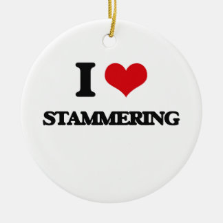 I love Stammering Double-Sided Ceramic Round Christmas Ornament