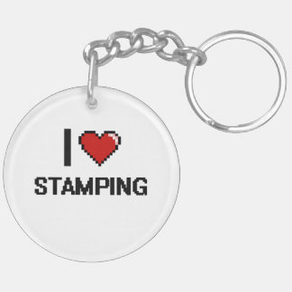 I Love Stamping Digital Retro Design Double-Sided Round Acrylic Keychain