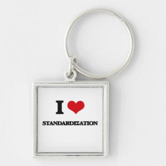 I love Standardization Silver-Colored Square Keychain