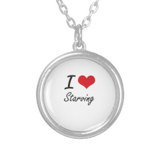 I love Starving Round Pendant Necklace