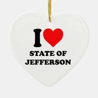 I Love State of Jefferson Ceramic Ornament