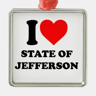 I Love State of Jefferson Metal Ornament