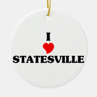 I love Statesville Double-Sided Ceramic Round Christmas Ornament