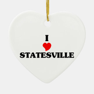 I love Statesville Double-Sided Heart Ceramic Christmas Ornament