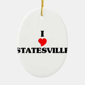 I love Statesville Double-Sided Oval Ceramic Christmas Ornament