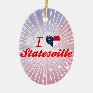 I Love Statesville, North Carolina Double-Sided Oval Ceramic Christmas Ornament
