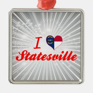 I Love Statesville, North Carolina Square Metal Christmas Ornament