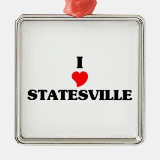 I love Statesville Square Metal Christmas Ornament