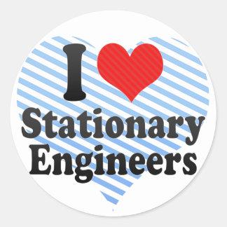 I Love Stationary Engineers Round Stickers