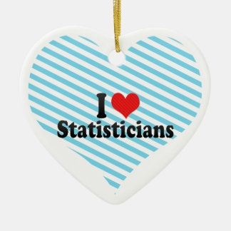 I Love Statisticians Double-Sided Heart Ceramic Christmas Ornament