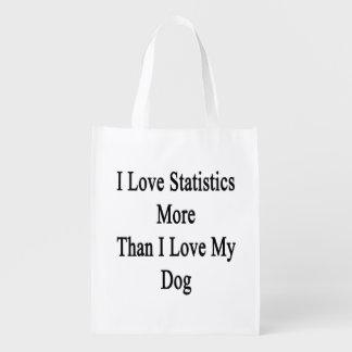 I Love Statistics More Than I Love My Dog Reusable Grocery Bag