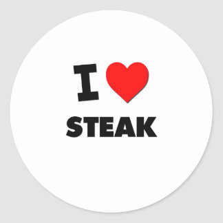 I love Steak Classic Round Sticker