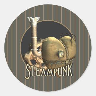 I Love Steampunk Brass Heart Classic Round Sticker