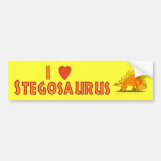 I Love Stegosaurus Cute Cartoon Dinosaur Lovers Car Bumper Sticker