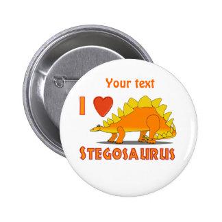 I Love Stegosaurus Cute Dinosaur Cartoon Template Pinback Button
