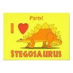 "I Love Stegosaurus Cute Dinosaur Cartoon Template 5"" X 7"" Invitation Card"