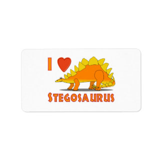 I Love Stegosaurus Cute Dinosaur Cartoon Template Label