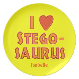I Love Stegosaurus Dinosaur Custom Name Plate