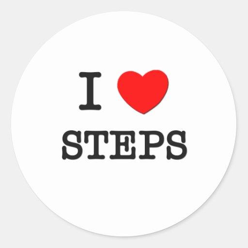 I Love Steps Round Stickers