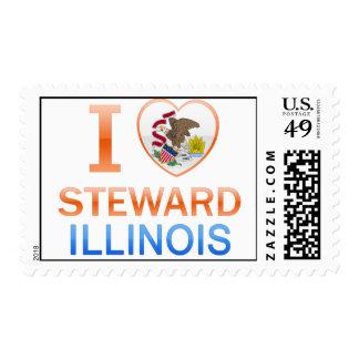 I Love Steward, IL Postage Stamp