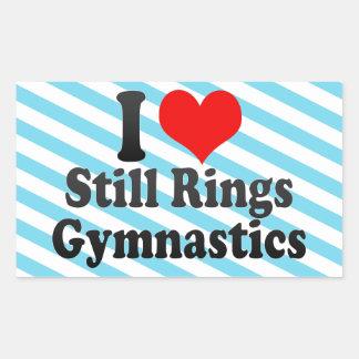 I love Still Rings Gymnastics Rectangular Sticker