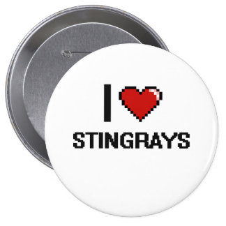 I love Stingrays Digital Design 4 Inch Round Button
