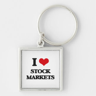 I love Stock Markets Silver-Colored Square Keychain