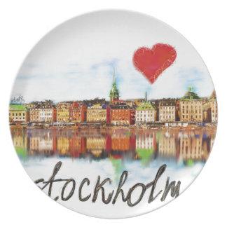 I love Stockholm Melamine Plate