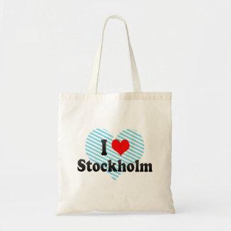 I Love Stockholm, Sweden Tote Bags