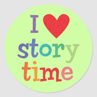 I Love Storytime T-Shirts & Gifts Round Stickers