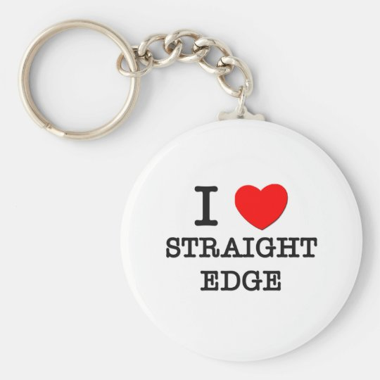 I Love Straight Edge Keychain