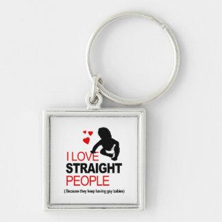 I Love Straight People Keychain