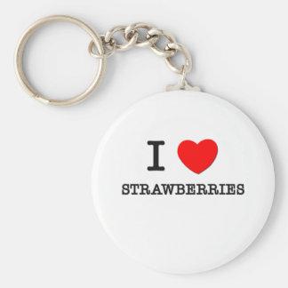 I Love Strawberries Basic Round Button Keychain