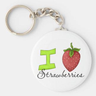 I Love Strawberries Key Chain