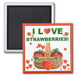 I LOVE STRAWBERRIES ~  Magnet! 2 Inch Square Magnet