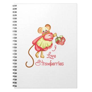 I LOVE STRAWBERRIES SPIRAL NOTEBOOKS