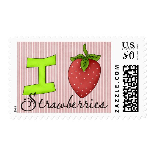 I Love Strawberries Postage