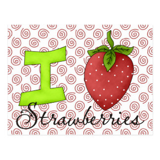 I Love Strawberries Postcard