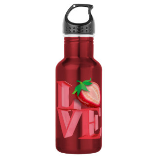 I LOVE STRAWBERRY STAINLESS STEEL WATER BOTTLE