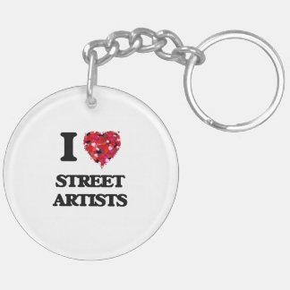 I love Street Artists Double-Sided Round Acrylic Keychain