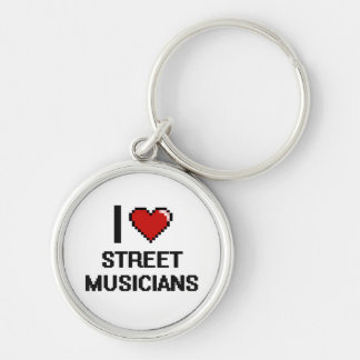 I love Street Musicians Silver-Colored Round Keychain