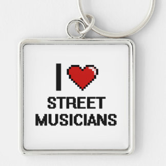 I love Street Musicians Silver-Colored Square Keychain