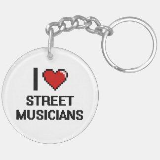 I love Street Musicians Double-Sided Round Acrylic Keychain