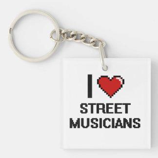 I love Street Musicians Single-Sided Square Acrylic Keychain