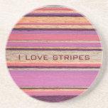 I Love Stripes Drink Coaster