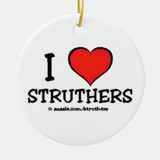 I Love Struthers Double-Sided Ceramic Round Christmas Ornament