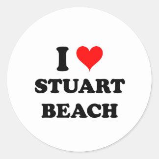 I Love Stuart Beach Florida Round Stickers